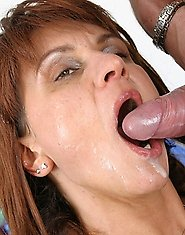 Horny MILF getting a mouth full of cum